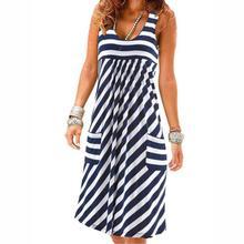 Модное Полосатое платье большого размера, летнее платье, свободное простое платье без рукавов, женская одежда