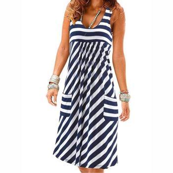 Модное платье в полоску, летнее платье большого размера, свободное простое платье без рукавов, женская одежда 1