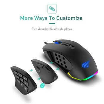 Havit Gaming Mouse 10000 DPI Wired Mice with 14 Programmable Buttons Interchangeable Side Plates , 2 Replaceable Right Plates 2