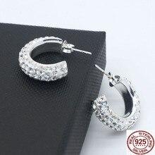 925 silver rhinestone hoop stud earrings for women C circle tiny allergy free
