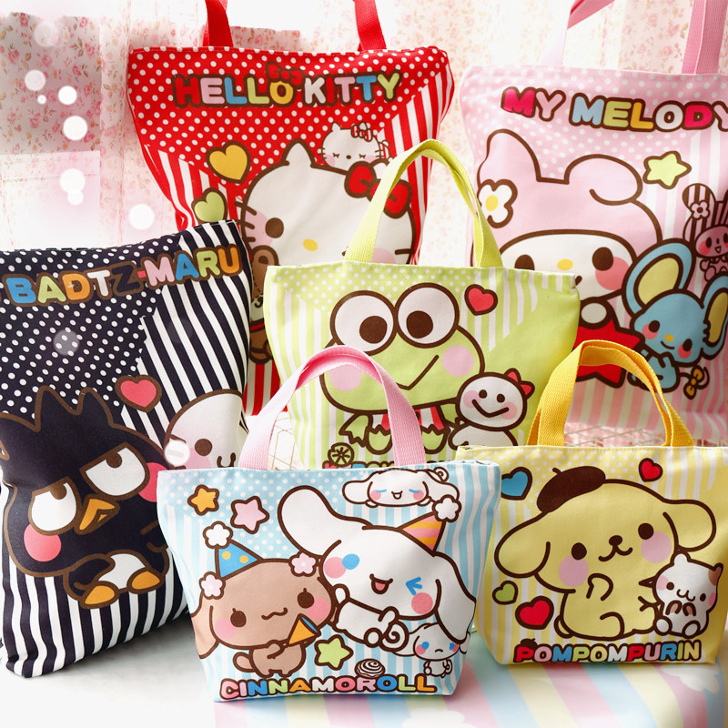 Cartoon HelloKitty Melody Cinnamoroll PomPomPurin Dog Canvas Shopping Bag Women Shoulder Bag Children Lunch Bag Eco Tote Handbag