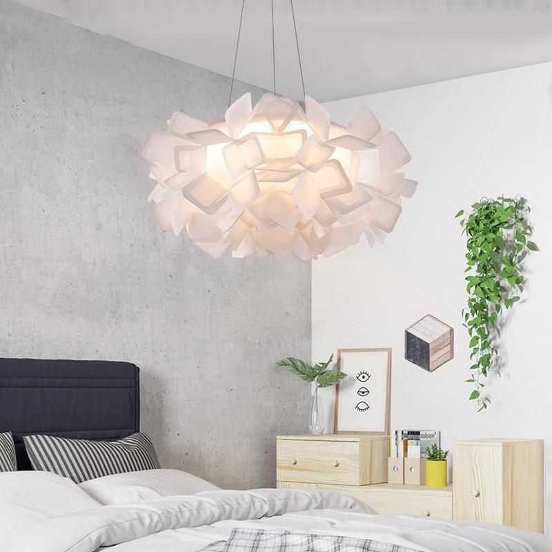 Italy Design Flower Pendant Ceiling Lamp Pp Acrylic Lampshade Flower Shape Led Ceiling Hanging Lights For Living Room Bedroom Pendant Lights Aliexpress