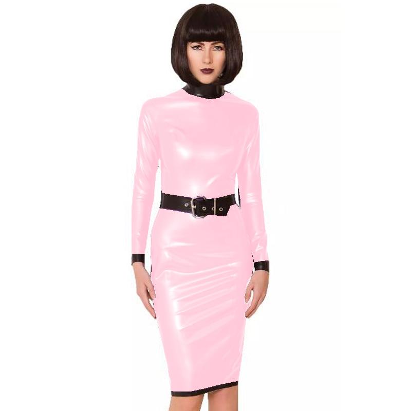 24 Colors Back Zipper Long Sleeve Knee Length Dress Lady Slim Vestido Fashion Patchwork Color Midi Dress Sexy Stage PVC Clubwear 11