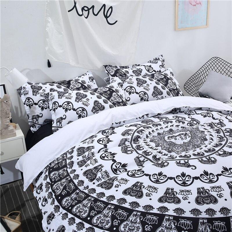 Svetanya Indian Elephant Printed Bedding Set (1pc Duvet Cover +2pc Pillowcase)
