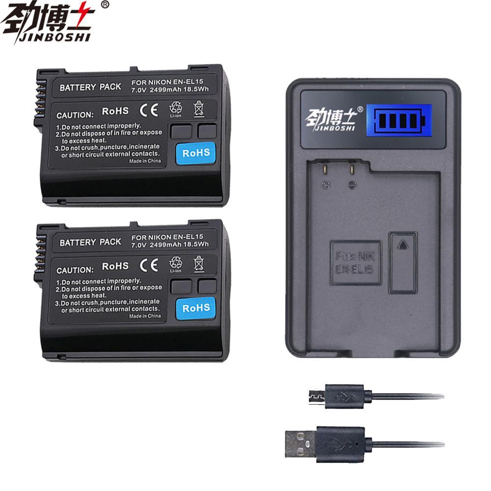 2 шт. EN EL15 ENEL15 RU EL15 Батарея + ЖК дисплей зарядное устройство с одним разъемом USB для цифровых зеркальных фотокамер Nikon D600 D610 D800 D800E D810 D7000 D7100 D7200