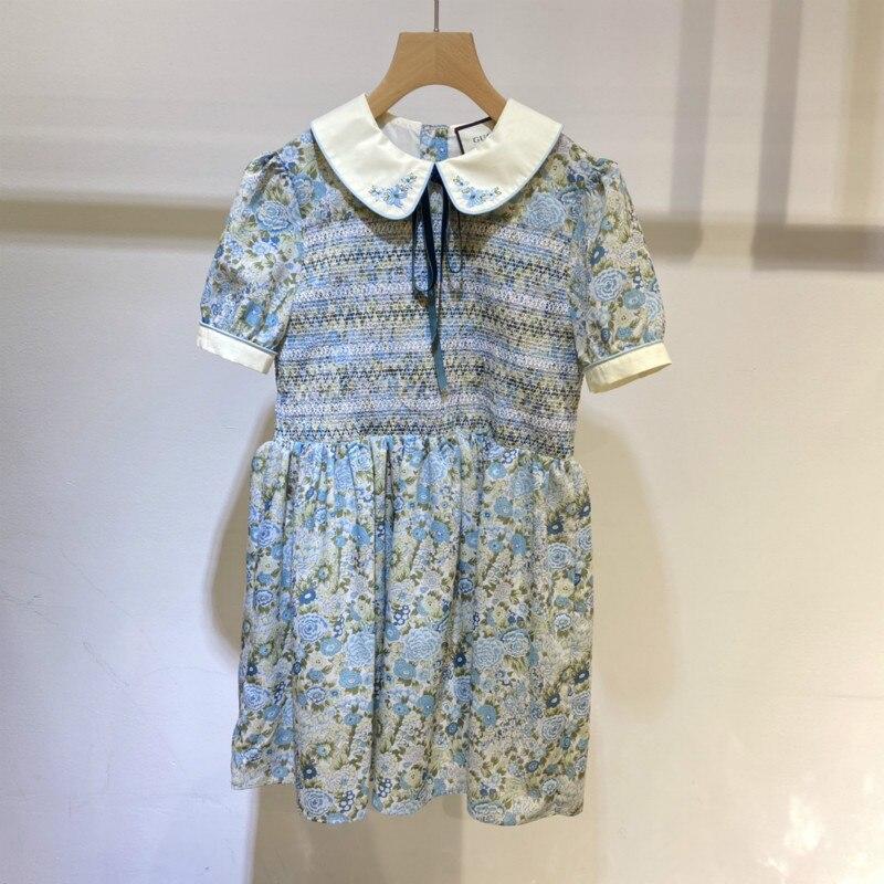 109389 New Summer Trendy Brand Fashion Broken Green Flowers Design Baby Collar Bow Tie Bubble Sleeve Short Sleeve Dress  G1