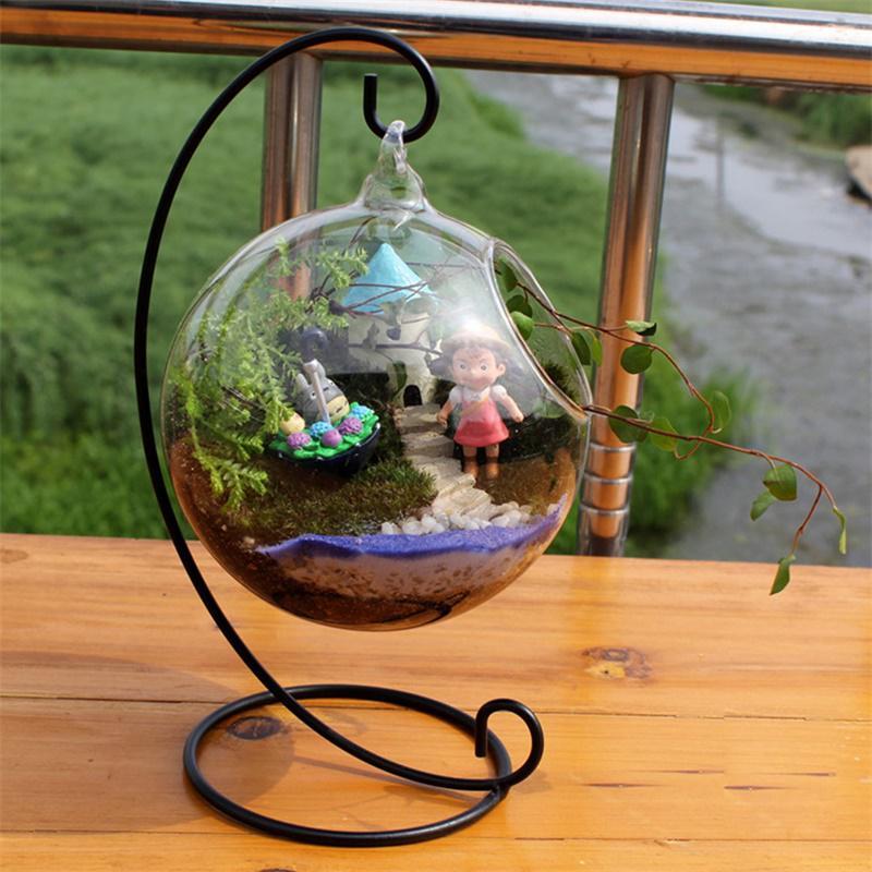 2PCS Clear Hanging Glass Vase Flower Plants Terrarium Vase Landscape Bottles