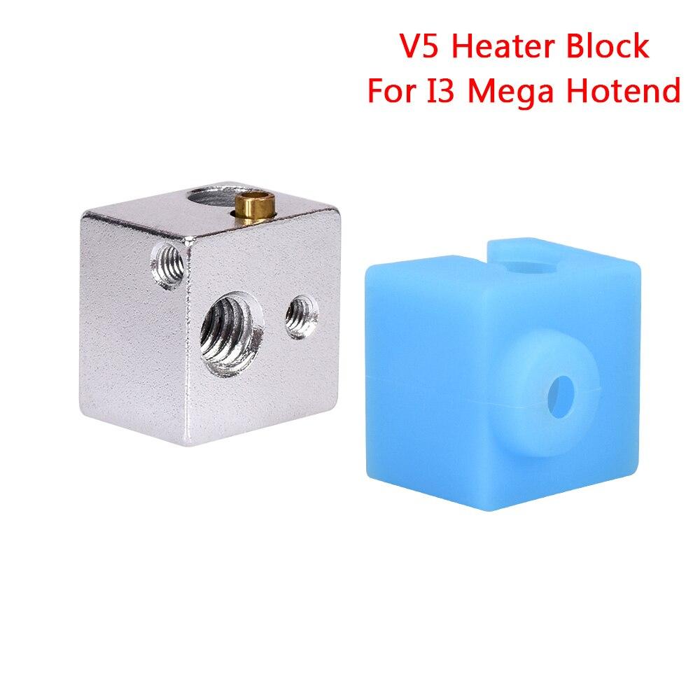 V5 Heat Block Silicone Sock Aluminum Block For V5 J-Head 3D Printer Anycubic Original I3 Mega Hotend 3D Printer Parts