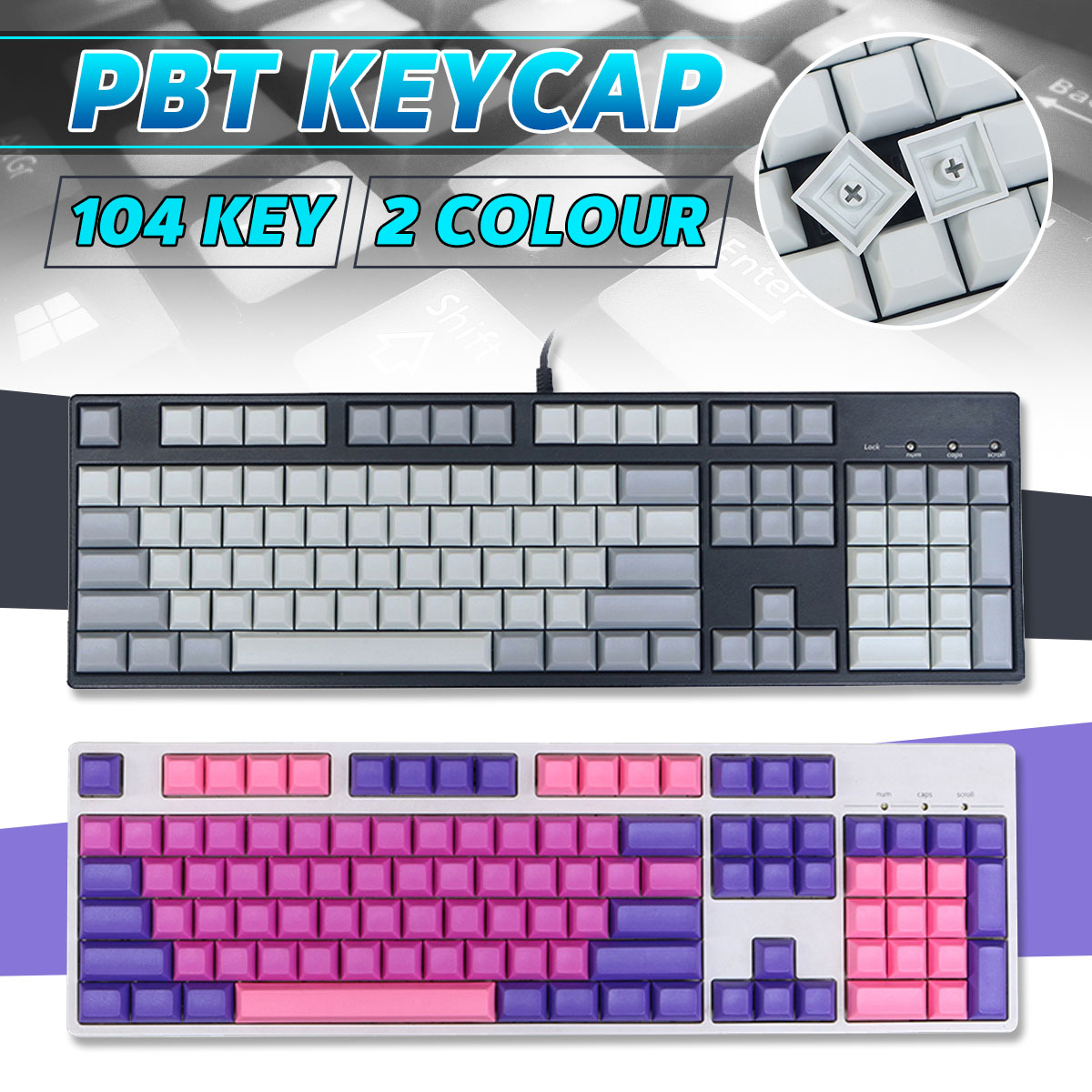 INSMA <font><b>104</b></font> Keys <font><b>PBT</b></font> Blank <font><b>Keycaps</b></font> DSA Profile Key Caps Set for Mechanical Keyboard for Gaming Mechanical Keyboard image