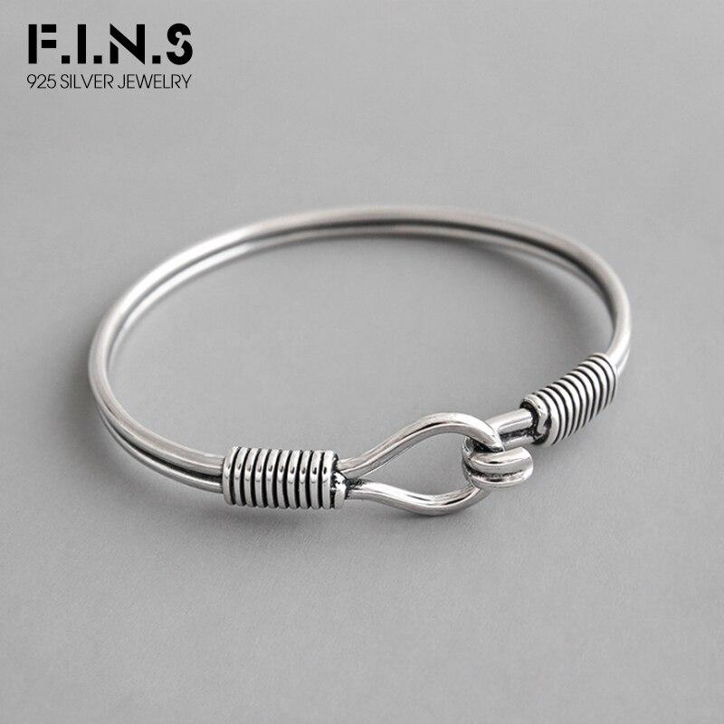 F.I.N.S Classic S925 Sterling Silver Bracelet Bangle Retro Winding Charm Bracelet Female Silver Woman Bracelet Cuff