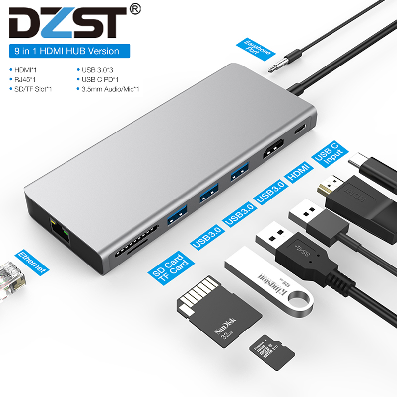 DZLST USB HUB Type C 3.1 To Multi USB 3.0 RJ45 Audio HDMI Adapter Dock For MacBook Pro USB-C Type C Splitter 3 Port USB C HUB