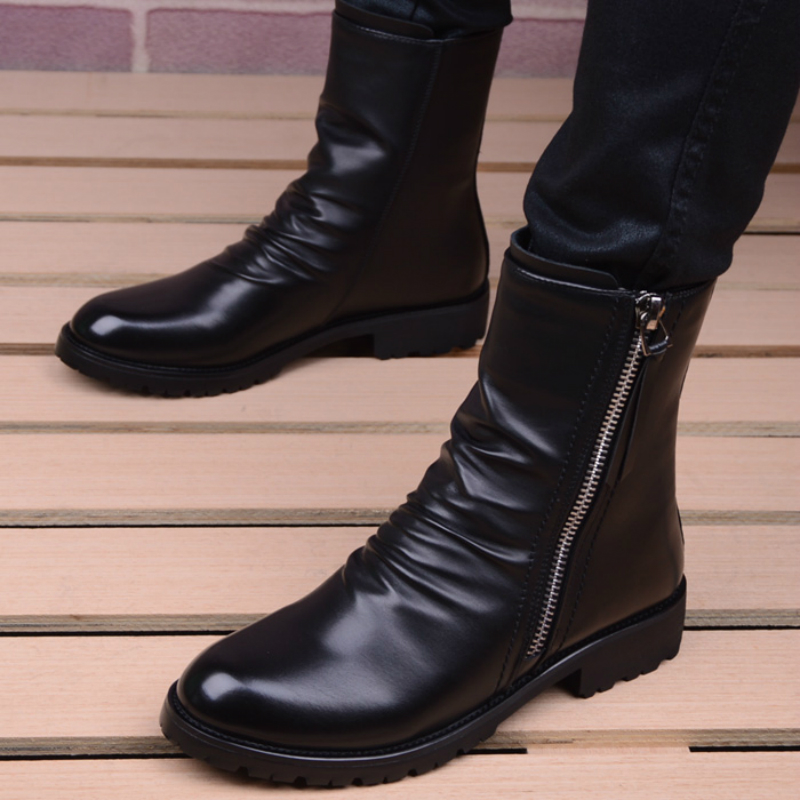 Image 3 - men casual stage motorcycle dresses cowboy boots spring autumn  genuine leather shoes pointed toe military boot ankle bota sapatoBasic  Boots