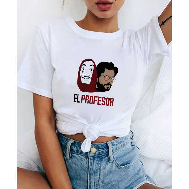 LUSLOS Gothic Vrouwen T-shirt La casa de papel Print Tshirt Casual Wit Tees Tops Plus Size Harajuku Vrouwen Kleding camiseta mujer