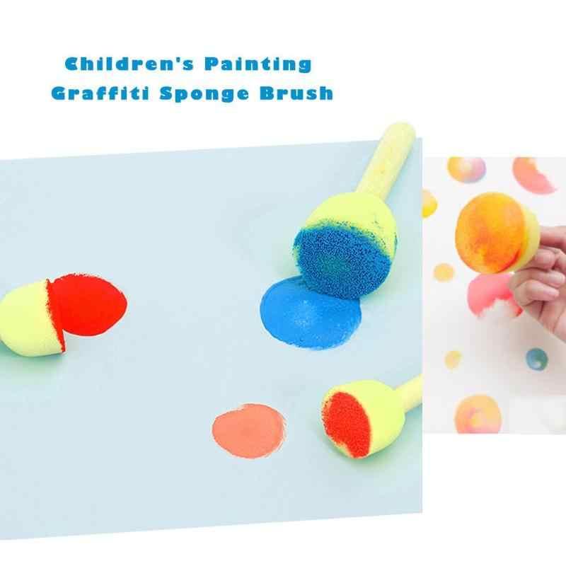 20pcs 4 สไตล์น่ารักเด็กมัลติฟังก์ชั่ฟองน้ำการศึกษาของเล่นไม้ Handle ฟองน้ำแปรงเครื่องมือ