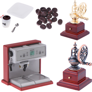 Metal Coffeemaker Coffee Beans Cup & Saucer & Spoon Simulation Kitchen Furniture Doll House Miniature Accessories 1:12 Dollhouse
