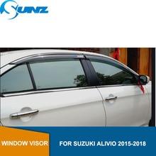 Car window rain protector For SUZUKI Alivio 2015 2016 2017 2018  Window Visor Vent Shades Sun Rain Deflector Guard SUNZ стоимость