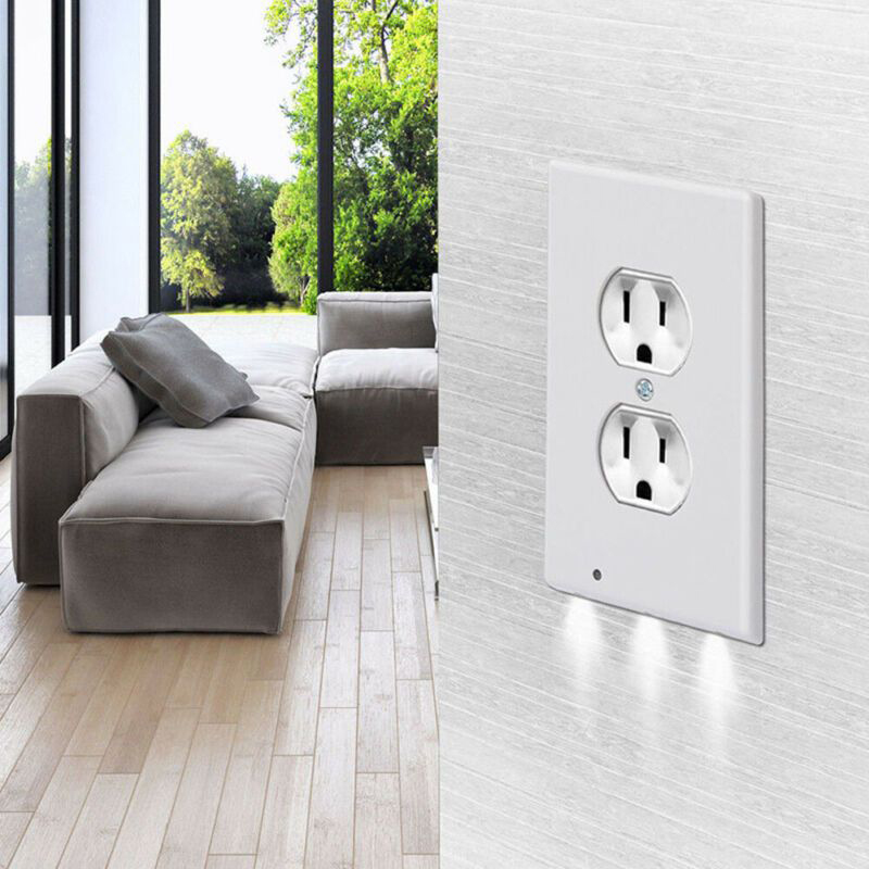 Hight Quality Sensor Night Light 120V AC Led Wall Lamp Outlet Duplex Plate Cover With Ambient Induction Plug Wall Nightlight