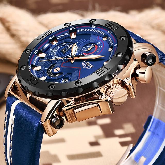 2020 LIGE Mens Luxury Fashion Leather Waterproof Sport Chronograph Watch 2