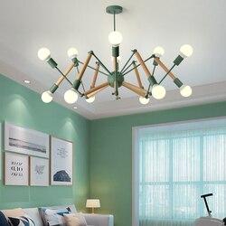 Pająk żyrandol Nordic żelazny żyrandol osobowość twórcza lampa do salonu sypialnia pająk żyrandol kolor żyrandol Wiszące lampki Lampy i oświetlenie -