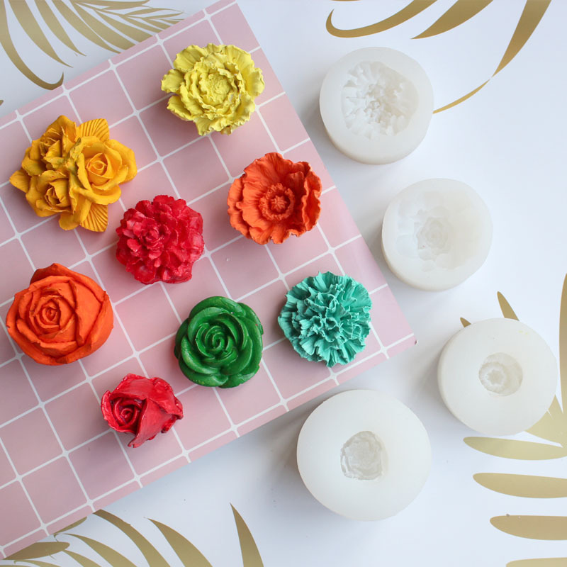 3D Flower Silicone Mold Peony Flower Buds Rose Crystal Drop Plastic Mold Aromatherapy Handmade Soap