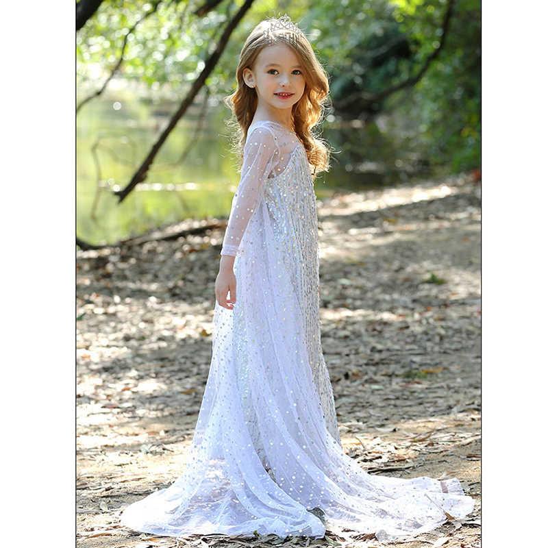 Snow Queen 2 Fancy Fairy Prinses Elsa Dress Up Kerst Carnaval Wit Meisjes Elsa Anna Kostuum Kids Pailletten Trouwjurken