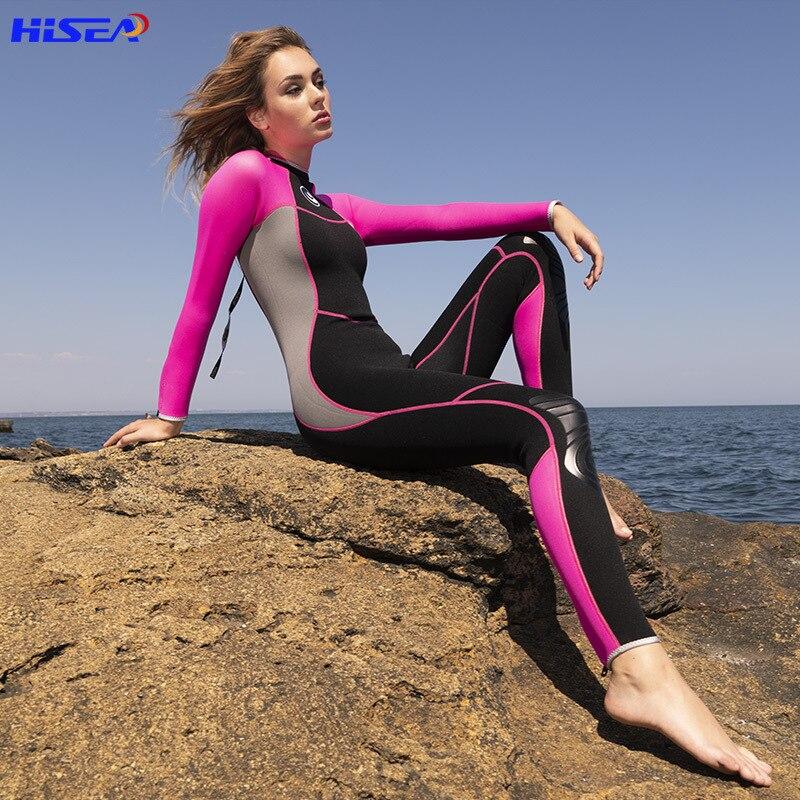Hisea Women 3mm Neoprene Wetsuit One-piece Diving Suit Swimwear Surfing Swimsuit