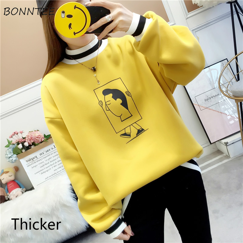 No Hat Hoodies Women Turtleneck Thicker Warm Print Various Patterns Long Sleeve Womens Korean Style Leisure Students All-match