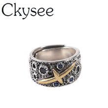 Ckysee 100% 925 Sterling Silver Vintage Micro Crystal Ring Adjustable Closed Dia 18mm  Charms Jewelry