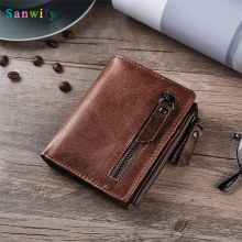 Cobbler Genuine Leather Men Women Card Coin Key Holder Pouch Bag Purse Mini Pouch Zipper Popular Small Money Wallet(China)