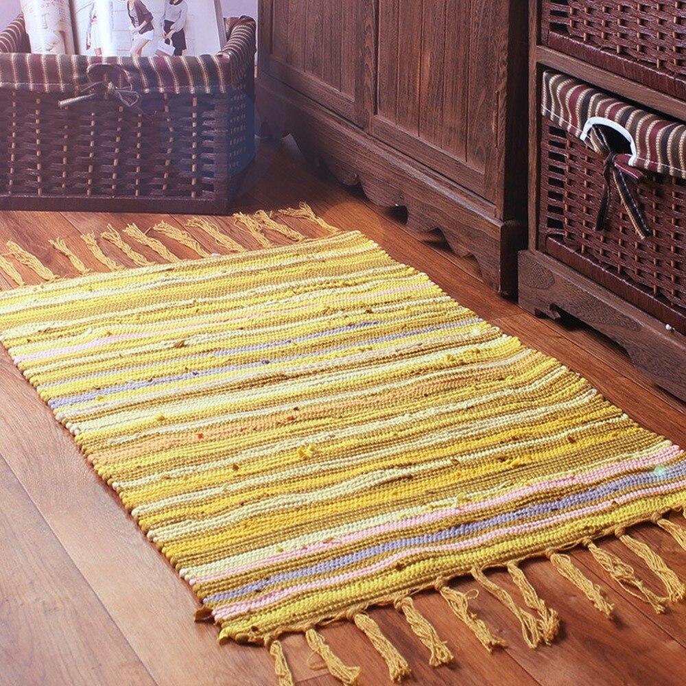 Tapis nordique pour la maison salon Art moderne rayure coton tapis couverture de chevet porte tapis tapis chambre canapé couverture