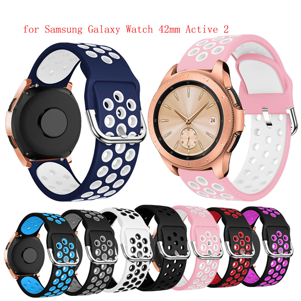 20mm Soft Silicone Watch Strap Band For Samsung Galaxy Watch 42mm Active 2 For Gear S2 Classic Sport Huawei GT2 42MM Wristband