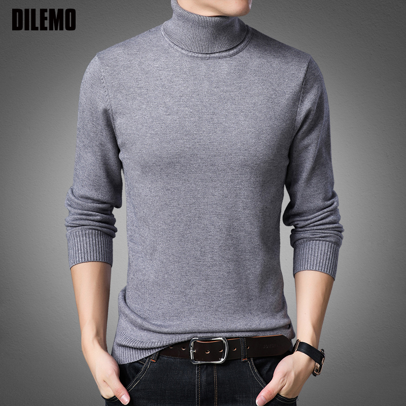 2019 New Fashion Brand Sweater Mens Pullovers Turtleneck Slim Fit Jumpers Knitred Warm Autumn Korean Style Casual Men Clothes