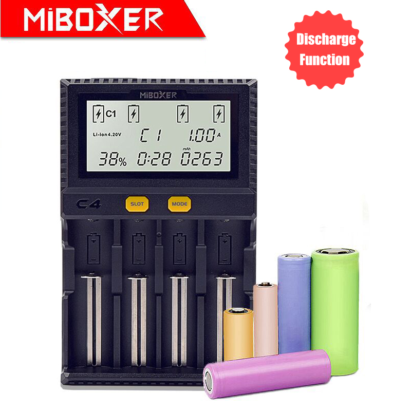 Оригинальное зарядное устройство Miboxer C4 с ЖК дисплеем для Li ion/LiFePO4/Ni MH/Ni Cd 18650 14500 26650aa4.2 3,7 1,2 1,5 В, Функция разрядки|battery charger|lcd battery chargercharger for | АлиЭкспресс