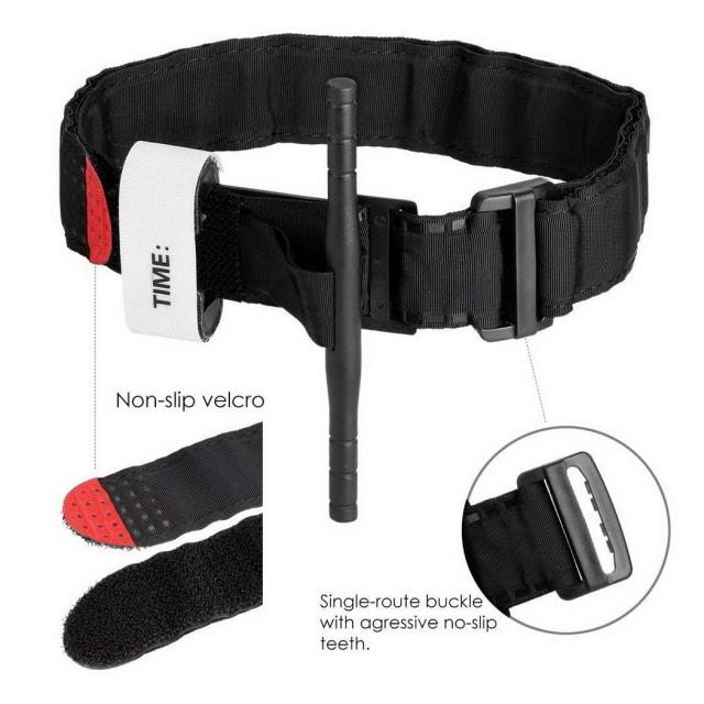 1pc Tourniquet Survival Tactical Combat Application Red Tip Military Medical Emergency Belt Aid for Outdoor Exploration Survival