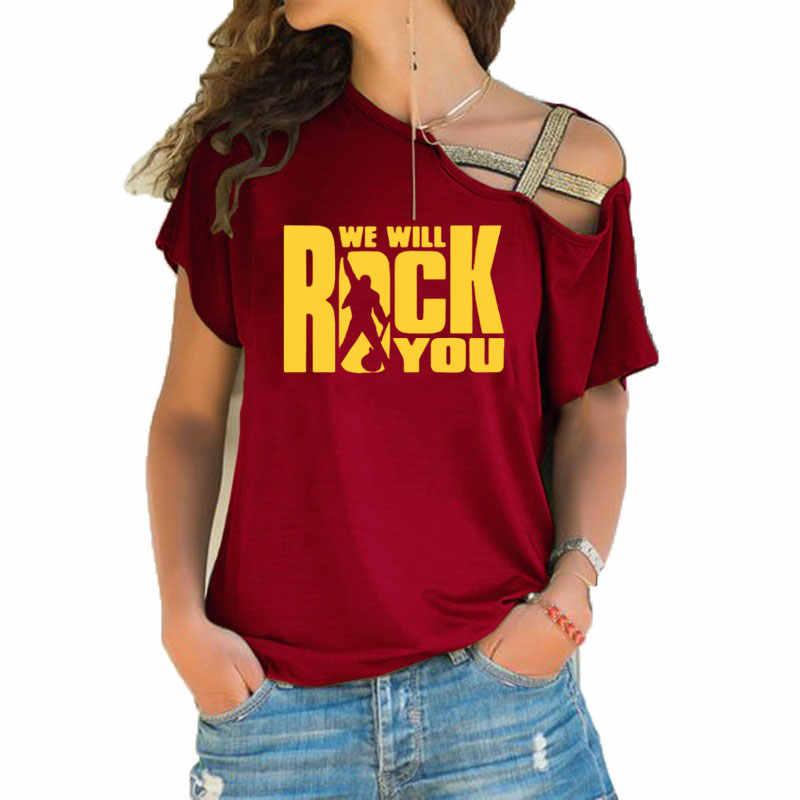 We Will Rock You T เสื้อฤดูร้อน Queen Rock Band เสื้อยืดแขนสั้น Rock Roll Womens ไม่สม่ำเสมอ Skew Cross เสื้อ