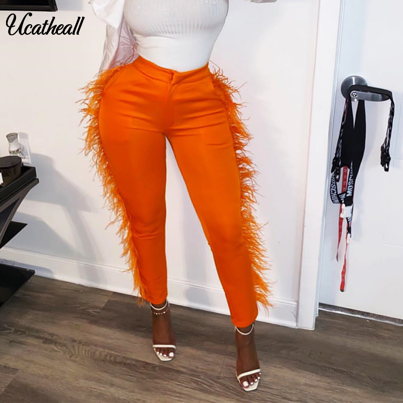 Elegant Side Fringed Feather High Waist Pants Trousers Tassel Pants Office Pencil Pants