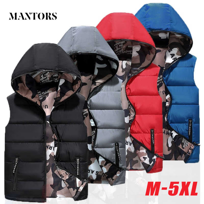 Winter Men Down Vest Sleeveless Jackets Warm Thick Male Casual Hooded Waistcoat Jacket Men's Solid Both Side Wear Outwear Coats