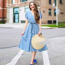 Summer 2021 New Euro Style Elegant Women's Princess Dress With Belt Plus Size V-Neck Women Waist Dress Short Sleeve Midi Dresses