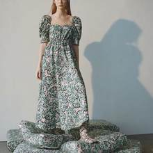 ZA spring new women green floral Printed puff sleeve maxi dress chic ladies casual vintage style female dresses(China)