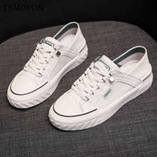 TEMOFON 2020 women sneakers lace up casual shoes women white Sneakers PU Leather vulcanized shoes fashion women shoes HVT1127 cheap Sewing Solid Adult Summer Med (3cm-5cm) Lace-Up Fits true to size take your normal size HVT71127 black green 35 36 37 38 39 40