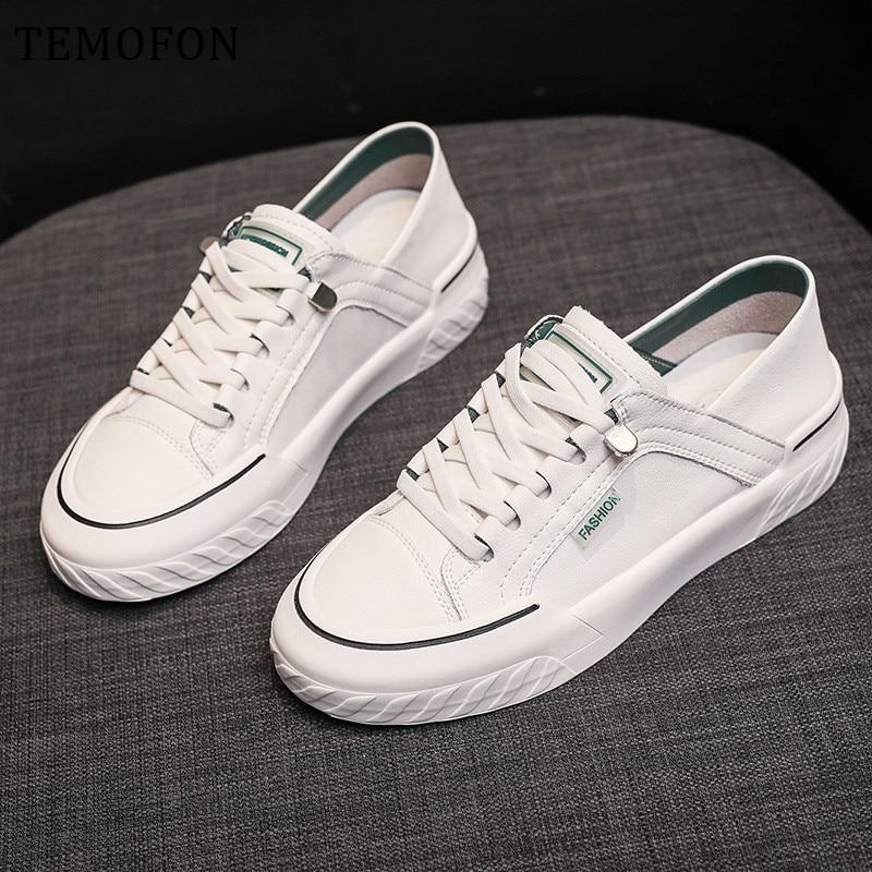Feminino de Couro Temofon Tênis Sintético Feminino Casual Lace up Sapatos Vulcanizados Branco 2020 Hvt1127