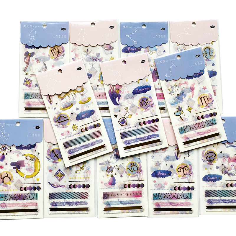 4 Sheets/Pack Cute 12 Constellations Sticker Adhesive Craft Stick Label Notebook Computer Phone DIY Decor Kids Gift Stationery