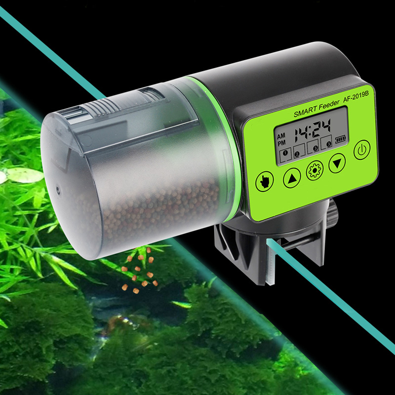 Умная автоматическая кормушка для рыб, аквариумная кормушка, автоматический диспенсер для кормления с ЖК-дисплеем, таймер, аквариумные акс...