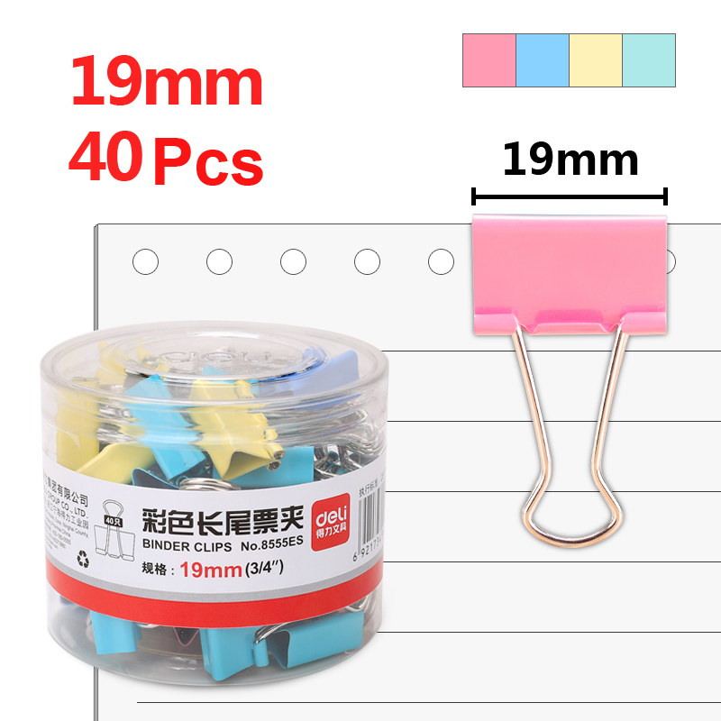 Deli 40pcs 19mm Color Binder Paper Clip Ticket Holder 5# Metal Swallowtail Clips Bill Binders School Office Supplies 8555ES