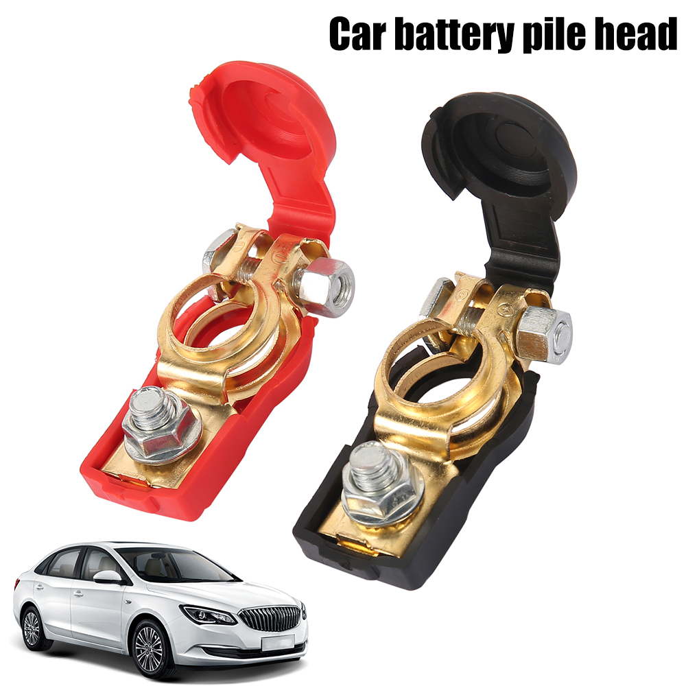 2pcs Red and Black Car Copper Battery Pile Head Positive and Negative Battery Pile Head Universal Type Corrosion Resistance|Battery Jump Cable|   - AliExpress