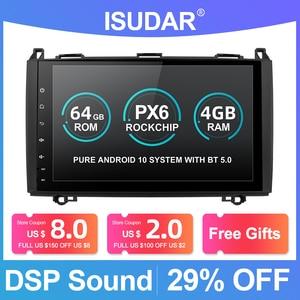 Image 1 - Isudar PX6 1 Din Android 10 Auto Radio For Mercedes/Benz/Sprinter/Viano/Vito/B class/B200/B180 Car Multimedia DVD Player GPS FM
