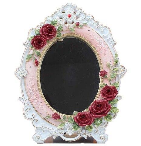Espelho de maquiagem cosm tica do vintage m o hold oval espelho redondo nobre restaurar