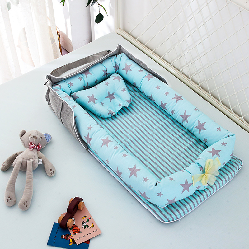 85*45cm Cotton Babynest Newborn Baby Bed Portable Crib Travel Bed Baby Nest Washable Baby Lounge Bassinet Bumper Storage Bed
