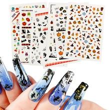 1 Pcs Halloween Nail Decals Stickers,Self-adhesive DIY Nail Art,Unique Nail Art Designs,Pumpkin Bat Ghost Witch Creative Slider