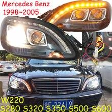 1998 ~ 2005y araba tampon kafa ışık Mercedes Benz w220 far S280 S320 S350 S500 S600 LED DRL HID sis W220 far